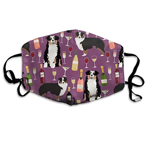australischer Schäferhund und mit Wein-Design, dreifarbig, Anti-Staub-Maske, waschbar, wiederverwendbar, Violett -