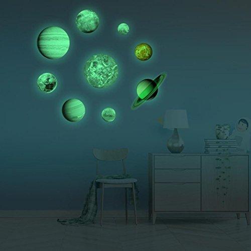 Momola Neun Planeten Wandsticker Leuchtaufkleber Leuchtsticker Sonne Erde fluoreszierend Wandaufkleber Hausdekoration für Schlafzimmer Wohnzimmer