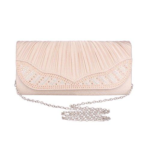 Mit Damen Faltenwurf Damara® Fashion Abendtasche Rot Party Lang Silber Strassstein CA5Y6Y7xwq