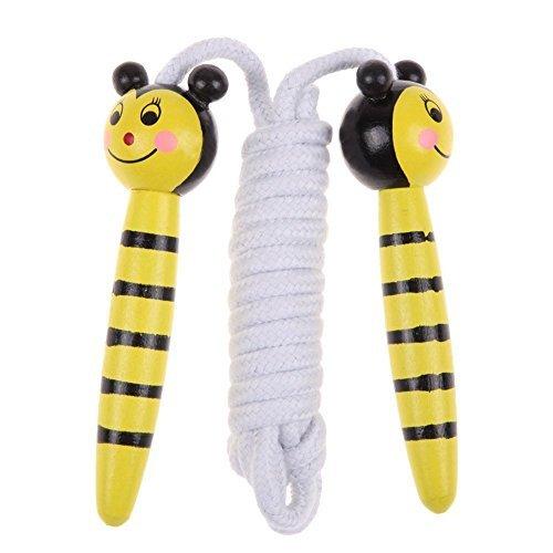Cuerda de saltar para ninos - TOOGOO(R)Cuerda de saltar de dibujos animados colorados con manija de madera