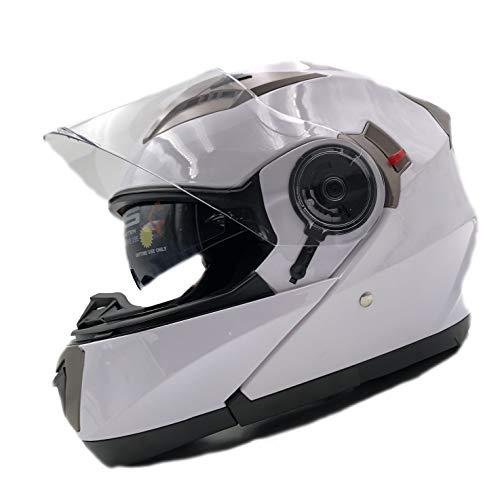 NATHUT Motorradhelm Klapphelm mit Sonnenblende - Integralhelm Helm Motorrad - Bluetooth Ready - ECE (XL 60-62cm, Weiß)