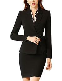b27a5ee0054 SK Studio Femmes Vestes De Tailleur Jupe De Bureau Longues Manches Costume  Ensemble Blazer avec Jupe