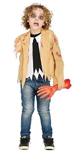 Armee Der Kostüm Untoten - Guirca Verwundeter Zombie Kostüm Kinder ohne Arm blutig Horror Jungen Halloween Gr. 110-146, Größe:140/146