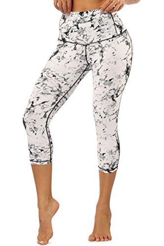 s Damen Tights 3/4 Sporthose Hohe Taille Yogahose Frauen Gym Fitnesshose Weiß S ()