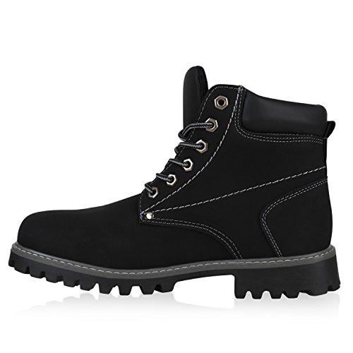 Herren Outdoor Worker Boots Schnürstiefel Profilsohle Schwarz
