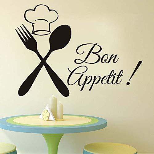 Küche Besteck Chef Bon Appetit Diy Wandaufkleber Küche Zimmer Muraux Poster Vinyl Dekoration Maison Stikers Decor Schwarz Aufkleber 79x58 cm