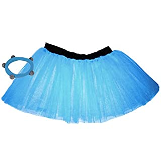 A-Express Blue Childrens Kids Years 4-7 Neon 3 Layers Net UV Flo Hen Fancy Dress Party Tutu Skirts Shamballa