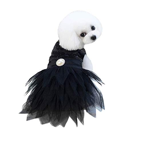 Hawkimin Hund Pet Bottoming Pailletten Perle Feste Party Kleid Kleidung Katze Lace Breathable Dress