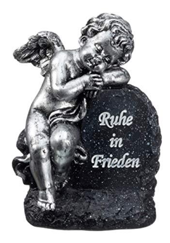 Cepewa Grabstein Engel mit Spruch Polyresin Gedenkstein Grabdeko schwarz