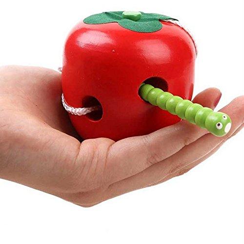 Atommy 1Pcs Juego de rompecabezas de madera Threading Toy Fruit Kids (Apple)