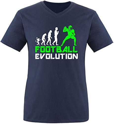 EZYshirt® Football Evolution Herren V-Neck T-Shirt Navy/Weiss/Neongr