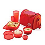 Cello Max Fresh Sling 5 Container Lunch Box with Bag,Orange