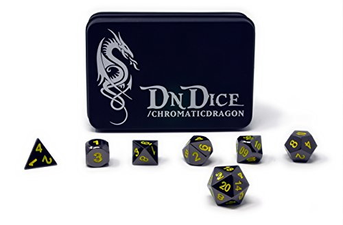 DnDIce Chromatic Dragon - Solid Metal Poly Dice Set By Available in Dark Chrome & Red, Green or Purple with Dragon Insignia Presentation Tin (Chromatic Dragon - Dark Metal Dragon
