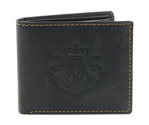 STREET 99 Herren Vintage-Brieftasche in Schwarz mit 8 Kreditkartenfaecher, Muenzfach und Flip-Id-Fenster aus echtem Bueffelleder (Id-fenster-schwarz-herren-geldbörsen)
