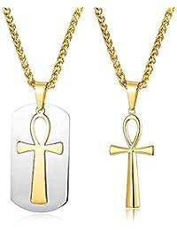 dec60e511df87 Finrezio Ankh Collar Egipcio Cruz de Acero Inoxidable para Hombre Niño  Simple Vintage