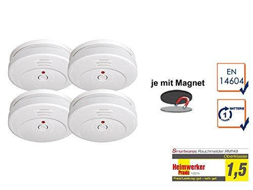 SMARTWARES 4er-Set Rauchmelder reinweiß mit Magnethalter, 85dB Alarm, RM149 RMAG2