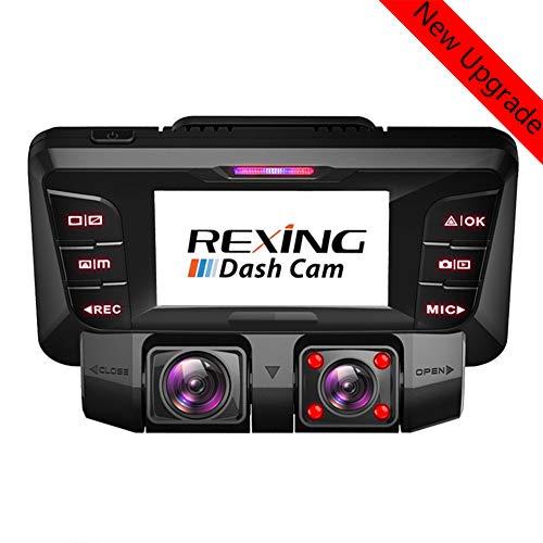 4K WiFi Dashcam Auto Vorne Hinten Dual 340° Wide Angle Kamera Autokamera mit Sony WDR Infrarot Nachtsicht 256GB SD Karte Bewegungsmelder Akku Parküberwachung G-Sensor Camcorder Tiberwachung Dash Cam