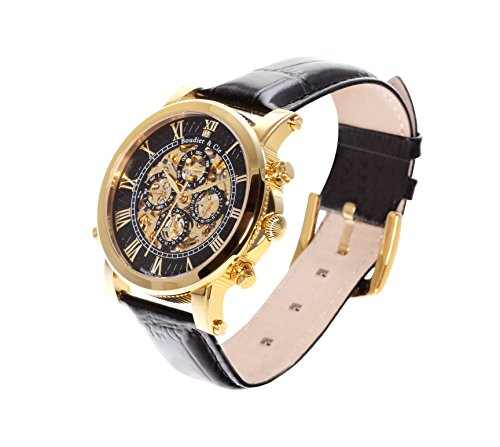 Boudier-Cie-Mens-Automatic-Watch-with-Black-Dial-Analogue-Display-and-Black-Leather-Bracelet-SK14H036