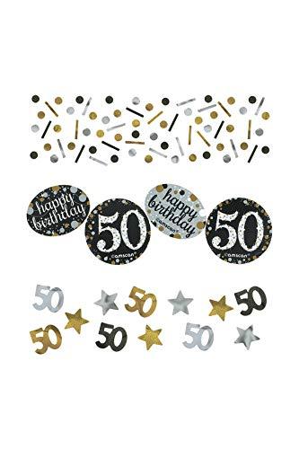 n Konfetti * 50. GEBURTSTAG - SPARKLING * für eine Party mit 34 Gramm Inhalt Gold und Silber ()