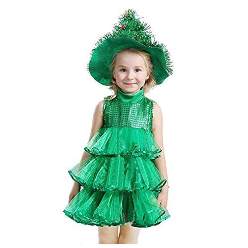SODIAL(R) Neonata Senza maniche Abiti Bambini verde Costumi Costumi di Halloween di Natale Albero di Natale Vestito e Cappello da strega -L