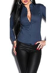 KouCla Freizeit Bluse - eng tailliertes Hemd Business Bluse Gr. S - XXL in 8 Farben (A-3019)