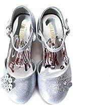 UK1stChoice-Zone ELSA & ANNA® Última Diseño Buena Calidad Niñas Princesa Reina de Nieve Partido Zapatos Zapatos de Fiesta sandalias (Plata, EURO 28-Longitud:18.7cm)