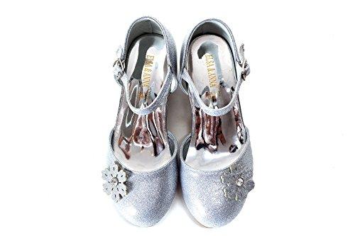 UK1stChoice-Zone ELSA & ANNA® Gute Qualität Neueste Design Mädchen Schuhe Prinzessin Schnee Königin Gelee Partei Schuhe Sandalen (EURO 30 - Insole Length 20.1cm, Silber)