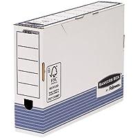 Bankers Box 0023701 - Pack de 10 cajas de archivo definitivo automático, folio, lomo 80 mm, blanco y azul