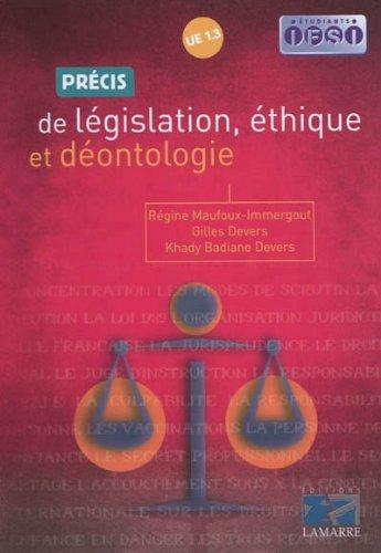 Prcis de lgislation, thique et dontologie: UE 1.3