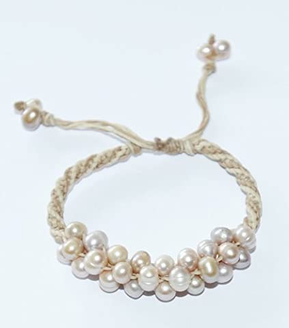 Shamballa Style Wax Leather Cord Pearl cluster bracelet with adjustable strap (champagne pink colour)