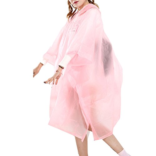 Zhhlinyuan Bicycle Waterproof Raincoat Women Fashion Transparent Poncho Raincoat pink