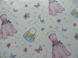 2Feuilles de papier cadeau Best Wishes avec robe et sac à main + 1étiquette de cadeau