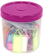 SNDIA Multicolor Keyring & Keychain with Name Tag Labels (Pack of 50)