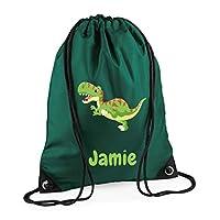 Campus Sports Personalised Drawstring Bag Gym Bag with Dinosaur or Monster, Boys, PE Kit Bag, Swimming Bag