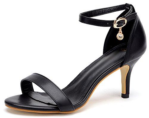 SANMULYH Chaussures Pour Femmes Printemps Automne En Daim Talons Nouveauté Confort Chaussures Imprimé Animal Boucle Pour Mariage & Soirée Rouge Noir,Black,Us6/Eu36/Uk4/Cn36