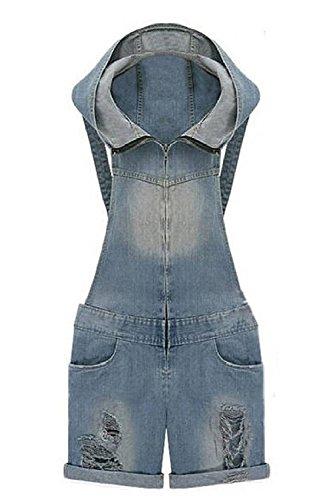 Minetom Donna Salopette Corte Lavato vintage Chiaro Blu Pantaloncini Shorts ( IT 46 ( Vita74-78 cm ) )