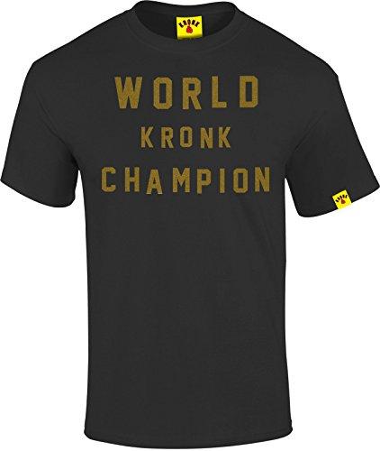 Kronk campione del mondo stile retrò da uomo Regular Fit T Shirt Black Medium