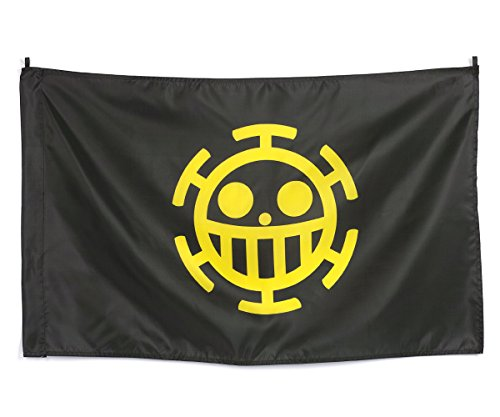 CoolChange bandera de One Piece avec Jolly Roger de la tripulación de los Piratas Heart, amarillo