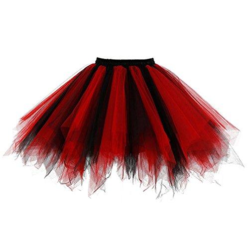 (sumuya Retro Petticoat Tutu Damenrock Tüllrock 50er Kurz Ballet Tanzkleid Unterkleid Cosplay Crinoline Petticoat für Rockabilly Kleid (Black-Red))