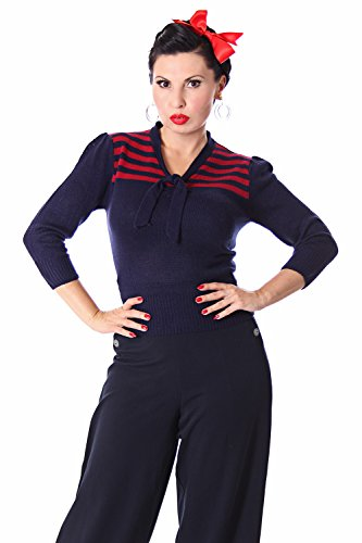 SugarShock Darcey 30er retro Vintage Rockabilly Streifen 3/4 Arm Pullover Jumper Strick Shirt - 2