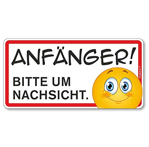 Auto-Magnet-Schild Anfänger! Bitte um Nachsicht I 20 x 10 cm I Vorsicht Achtung Fahranfänger I mit Smiley I wetterfest magnetisch I kfz_360