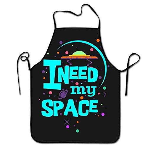 Personalized I Need My Space Print Adjustable Strap Adult Kitchen Aprons-Fashion Black Border Waterproof Cooking Aprons for Baking & BBQ & Art -