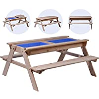 Childrens Picnic Table with Mud Box Play Table FSC Wood 121 x 96 x 57 cm