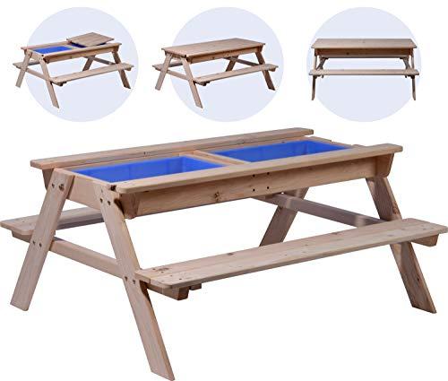 Kinder Picknicktisch inklusive Matschkiste, Spiel-Tisch, FSC-Holz, 121 x 96 x 57 cm