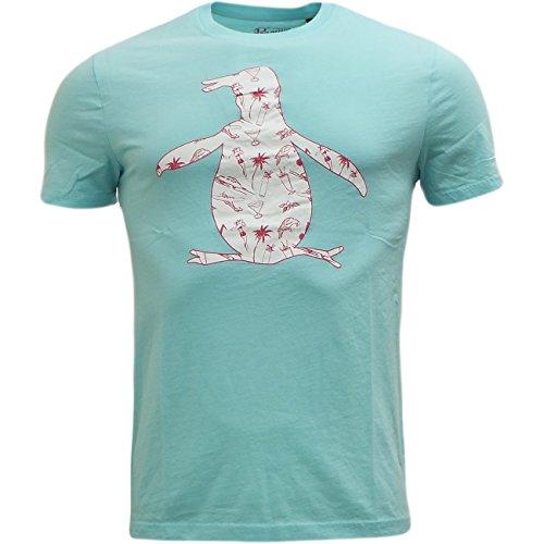 Original Penguin Herren T Shirt Short Sleeve Top, Neu Designer T-Shirts Blau - Aqua Splash