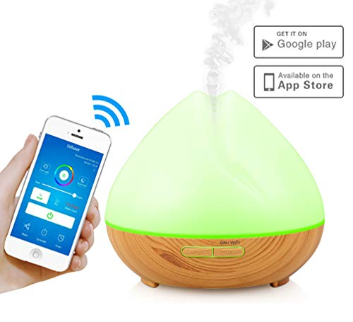 MBYXHW WiFi-Diffusor für ätherische Öle, Echo Alexa Control 400 ml für Aromatherapie, Ultraschall-Aromadiffusoren, einstellbare Nebelmodi, Luftbefeuchter mit 7 LED-Abschaltautomatik