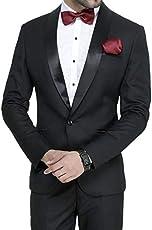 ManQ Men's Slim Fit Tuxedo Suit (Pack of 2)