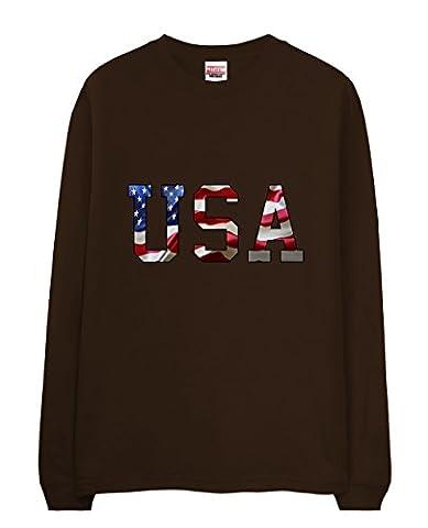 T-Shirt - USA Theme Flag Typography Chocolate X-Large