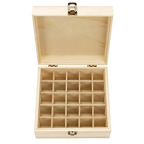 Euopat Aufbewahrungsbox für ätherische Öle aus Holz für die Aromatherapie, Aromatherapie-ätherisches Öl mit 25 Fächern mit Schnalle Schnalle Organisationsvitrine Reisebox und Display-Set - Schlafzimmer Sammlung Massivholz Kommode