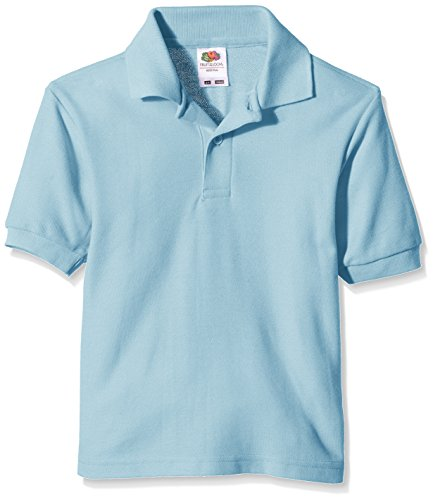 Fruit of the Loom Jungen T-Shirt Pique Polo, Blau (Sky Blue), Gr. 9-11 Jahre